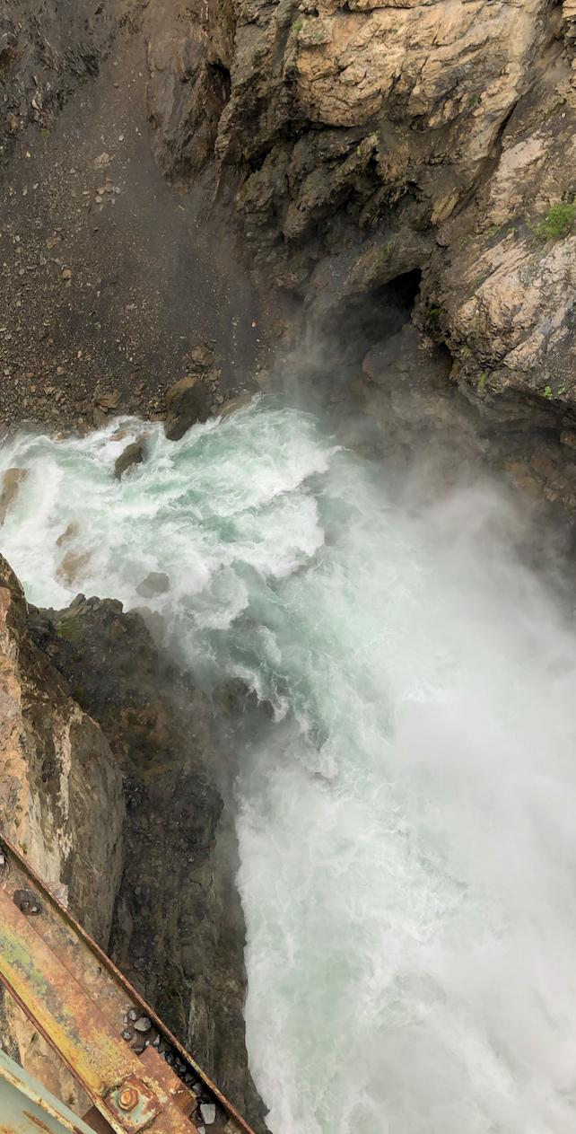 Gushing waterfall near Iskanderkul Lake in Tajikistan