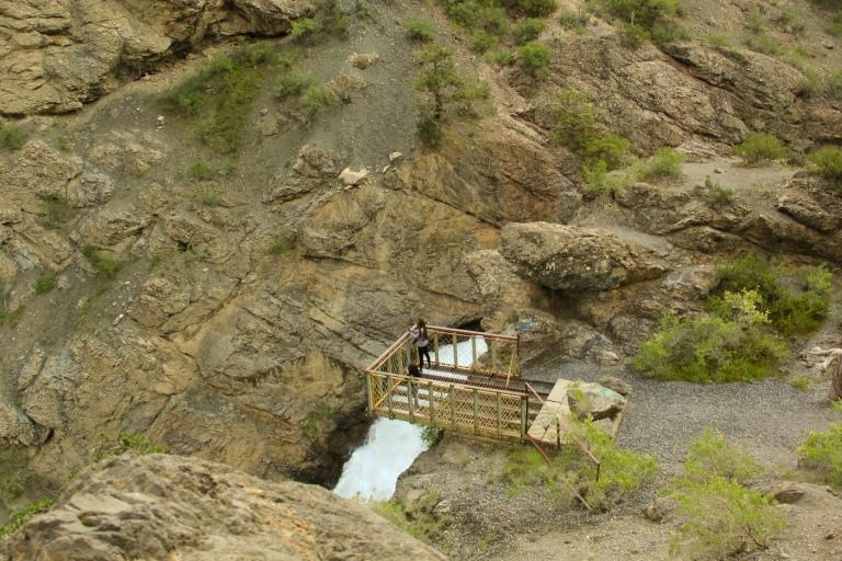 bridge over the waterfall near Iskanderkul Lake in Tajikistan
