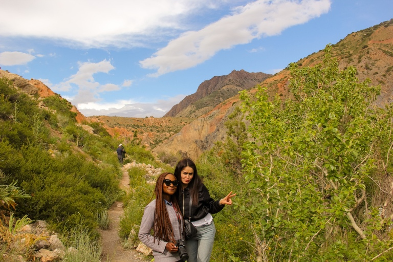 Lush green surroundings while hiking in Tajikistan