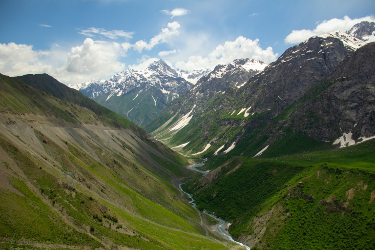 Snow-cupped Fann Mountains in Tajikistan with glacial rivers flowing beneath